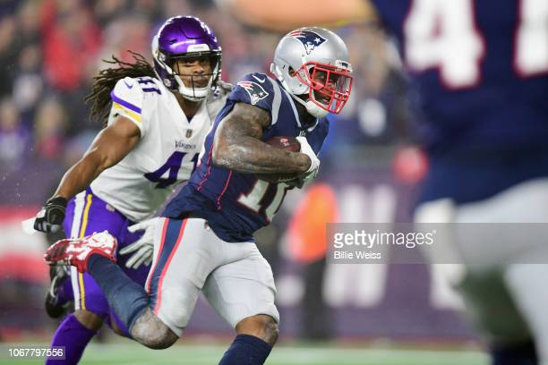 Josh Gordon of the New England Patriots runs on his way to scoring a touchdown during the third quarter against the Minnesota Vikings at Gillette...