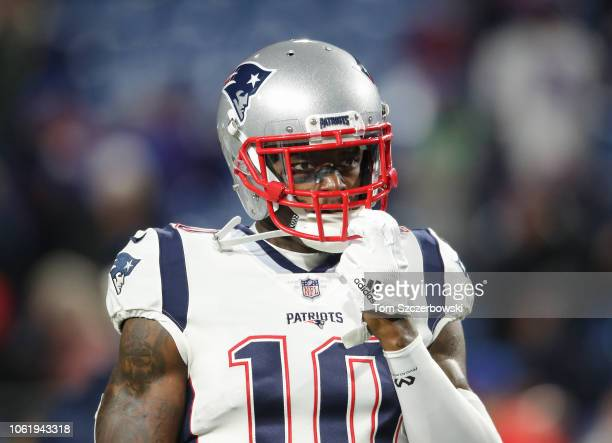 Josh Gordon of the New England Patriots warms up before the start of NFL game action against the Buffalo Bills at New Era Field on October 29 2018 in...