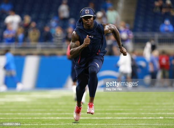 Josh Gordon of the New England Patriots warms up on field prior to the start of the Detroit Lions and New England Patriots game at Ford Field on...