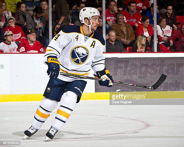 Josh Gorges of the Buffalo Sabres follows the play during a NHL game against the Detroit Red Wings on January 18 2015 at Joe Louis Arena in Detroit...