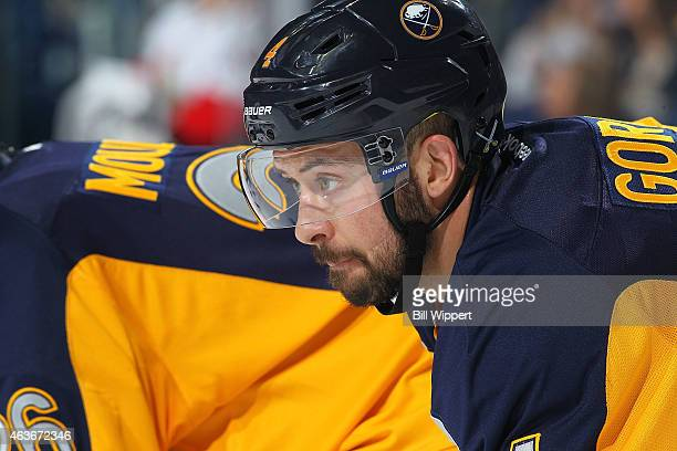 Josh Gorges of the Buffalo Sabres prepares for a faceoff against the Ottawa Senators on February 10 2015 at the First Niagara Center in Buffalo New...
