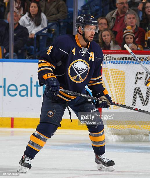 Josh Gorges of the Buffalo Sabres skates against the Boston Bruins on October 18 2014 at the First Niagara Center in Buffalo New York