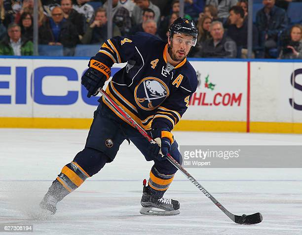 Josh Gorges of the Buffalo Sabres skates against the Pittsburgh Penguins during an NHL game at the KeyBank Center on November 19 2016 in Buffalo New...