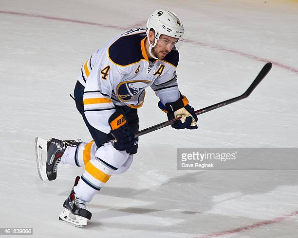 Josh Gorges of the Buffalo Sabres skates up ice during a NHL game against the Detroit Red Wings on January 18 2015 at Joe Louis Arena in Detroit...
