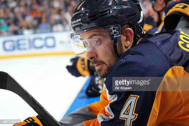 Josh Gorges of the Buffalo Sabres watches the action against the Anaheim Ducks on October 13 2014 at the First Niagara Center in Buffalo New York