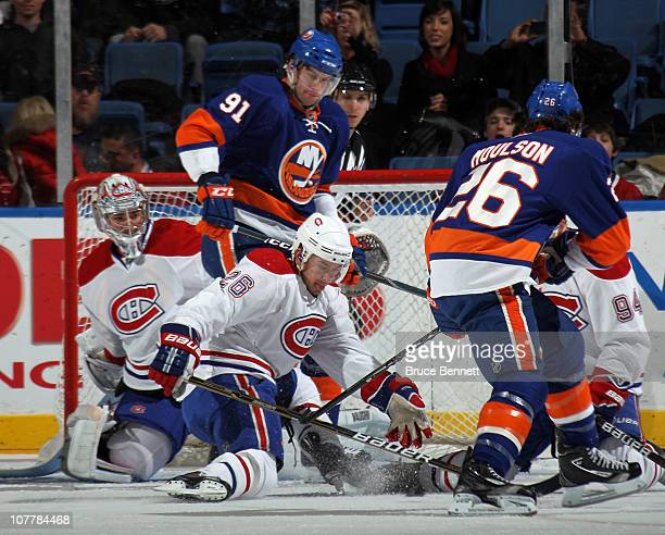 Josh Gorges of the Montreal Canadiens blocks a shot against the New York Islanders at the Nassau Coliseum on December 26 2010 in Uniondale New York