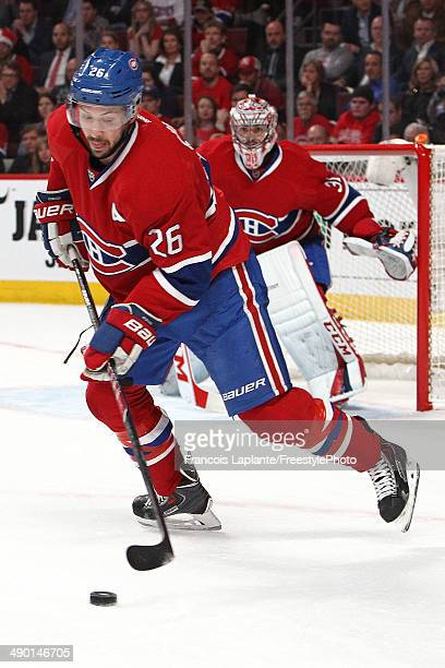 Josh Gorges of the Montreal Canadiens skates with the puck against the Boston Bruins in Game Four of the Second Round of the 2014 NHL Stanley Cup...