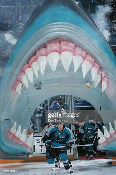 Josh Gorges of the San Jose Sharks skates through the Sharks head prior to a game against the New York Islanders on October 16 2006 at the HP...