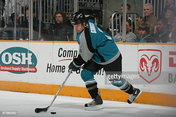 Josh Gorges of the San Jose Sharks skates with the puck during Game 2 of the Western Conference Semifinals against the Edmonton Oilers on May 8, 2006...