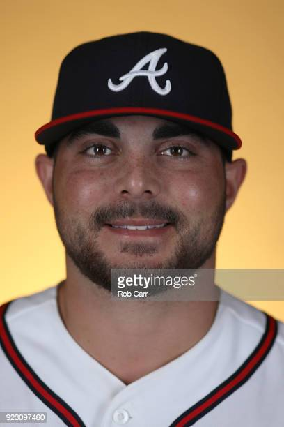 Josh Graham of the Atlanta Braves poses for a photo during photo days at Champion Stadium on February 22 2018 in Lake Buena Vista Florida