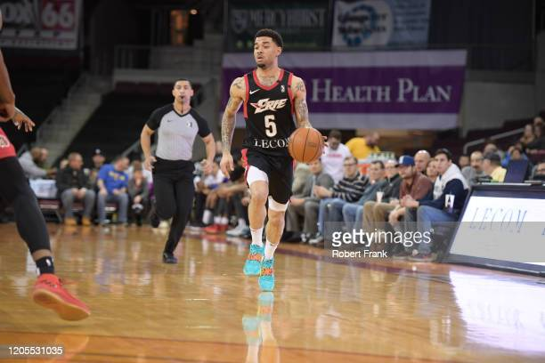 Josh Gray of the Erie BayHawks dribbles near mid court during a G League game between the Erie BayHawks and the Greensboro Swarm at the Erie...