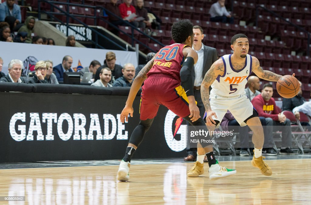 Josh Gray #5 of the Northern Arizona Suns dribbles the ball against the Canton Charge during the NBA G-League Showcase on January 12, 2018 at the Hershey Centre in Mississauga, Ontario Canada.