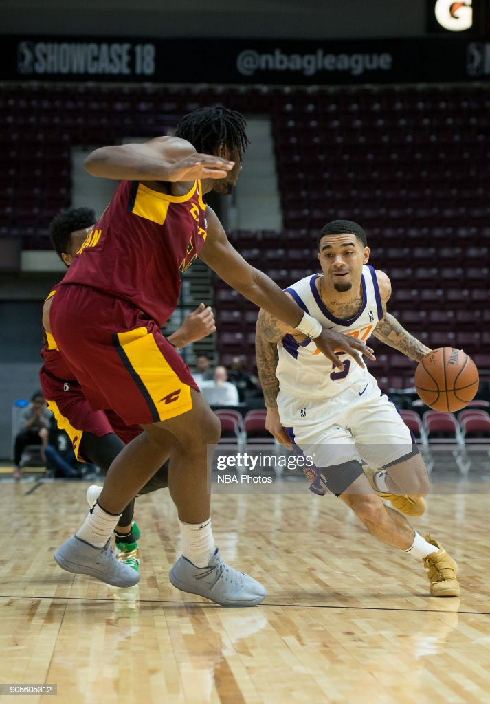 Josh Gray #5 of the Northern Arizona Suns drives to the basket against the Canton Charge during the NBA G-League Showcase on January 12, 2018 at the Hershey Centre in Mississauga, Ontario Canada.