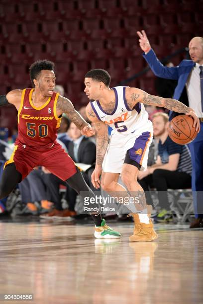 Josh Gray of the Northern Arizona Suns handles the ball against Kevin Olekaibe of the Canton Charge during the GLeague Showcase on January 12 2018 at...