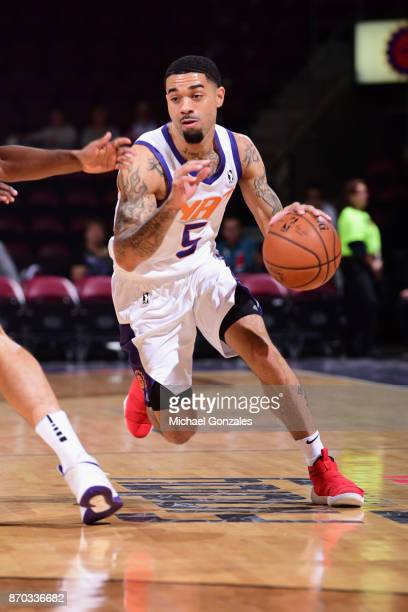 Josh Gray of the Northern Arizona Suns handles the ball against the Agua Caliente Clippers on November 4 2017 at Prescott Valley Event Center in...