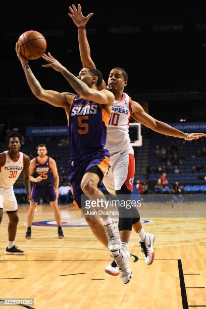 Josh Gray of the Northern Arizona Suns handles the ball against the Agua Caliente Clippers on December 8 2017 at Citizens Business Bank Arena in...