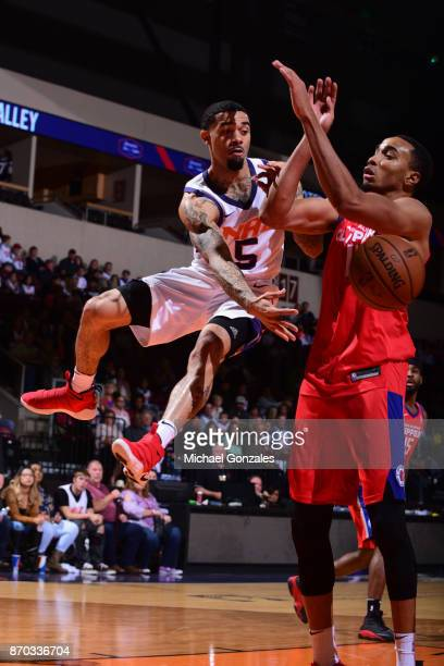 Josh Gray of the Northern Arizona Suns passes the ball against the Agua Caliente Clippers on November 4 2017 at Prescott Valley Event Center in...