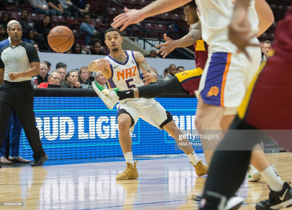 Josh Gray #5 of the Northern Arizona Suns passes the ball against the Canton Charge during the NBA G-League Showcase on January 12, 2018 at the Hershey Centre in Mississauga, Ontario Canada.