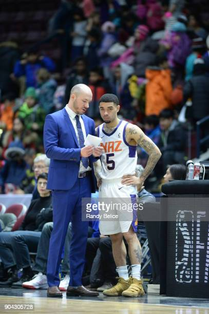 Josh Gray of the Northern Arizona Suns talks with Cody Toppert during the GLeague Showcase on January 12 2018 at the Hershey Centre in Mississauga...