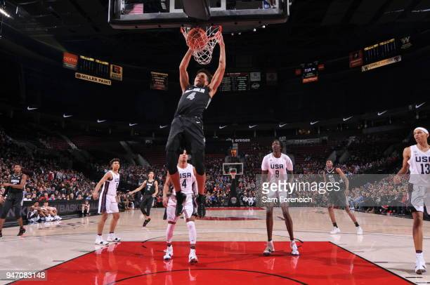 Josh Green of Team World dunks the ball against Team USA during the Nike Hoop Summit on April 13 2018 at the MODA Center Arena in Portland Oregon...