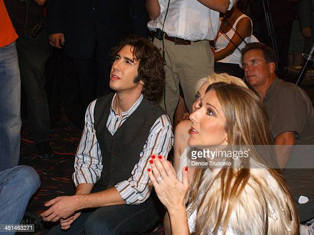 Josh Groban and Celine Dion during 2004 World Music Awards Press Room at Thomas and Mack Center in Las Vegas Nevada United States