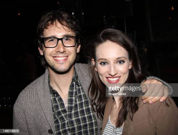 Josh Groban and Elizabeth A Davis pose backstage at the hit musical 'Once' on Broadway at The Bernard B Jacobs Theatre on June 8 2012 in New York City