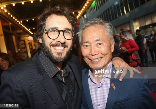 Josh Groban and George Takei pose at the opening night of the new musical Hadestown on Broadway at The Walter Kerr Theatre on April 17 2019 in New...