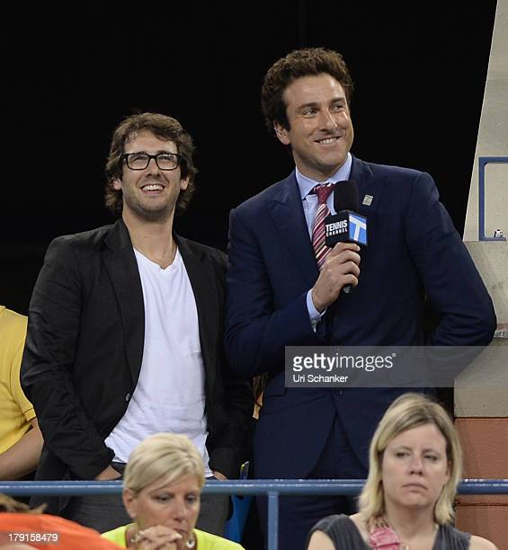 Josh Groban and Justin Gimelstob attend the 2013 US Open at USTA Billie Jean King National Tennis Center on August 31 2013 in New York City