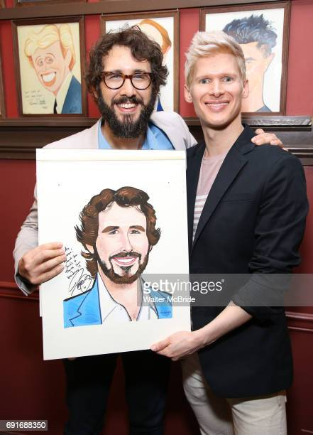 Josh Groban and Lucas Steele during the Josh Groban Sardi's Portrait Unveiling at Sardi's on June 2 2017 in New York City