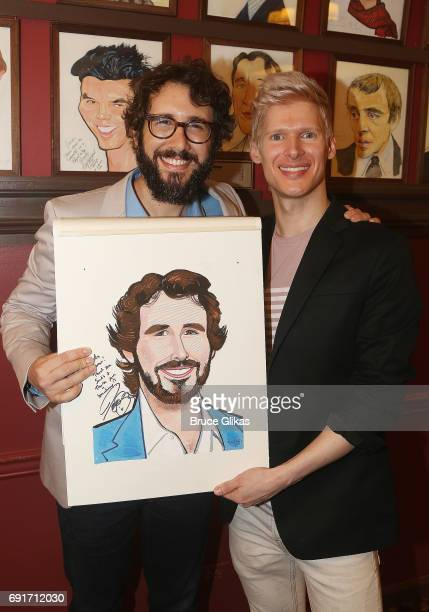 Josh Groban and Lucas Steele pose as Groban gets honored for his broadway debut in 'Natasha Pierre The Great Comet of 1812' on Broadway with a...