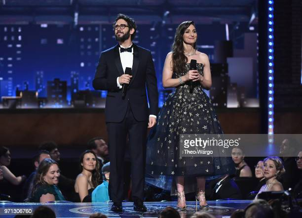 Josh Groban and Sara Bareilles speak onstage during the 72nd Annual Tony Awards at Radio City Music Hall on June 10 2018 in New York City