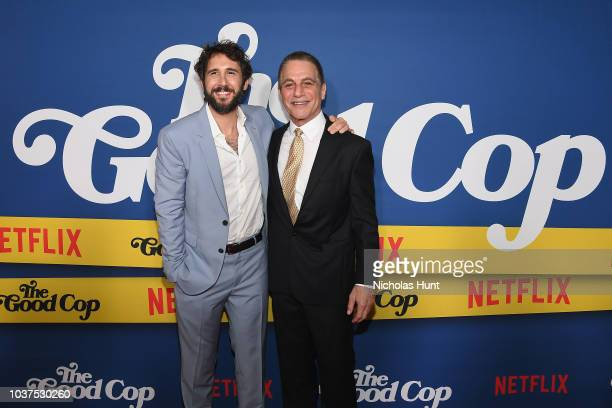 Josh Groban and Tony Danza attend the New York Premiere of Netflix's Original Series The Good Cop at AMC Loews 34th Street 14 on September 21 2018 in...