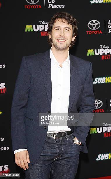 Josh Groban arrives at the Los Angeles premiere of 'Muppets Most Wanted' held at the El Capitan Theatre on March 11 2014 in Hollywood California