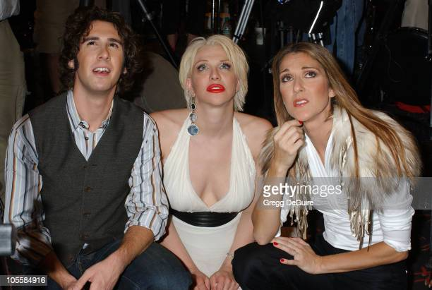 Josh Groban Courtney Love and Celine Dion during 2004 World Music Awards Press Room at Thomas and Mack Center in Las Vegas Nevada United States