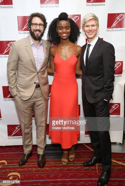 Josh Groban Denee Benton and Lucas Steele attend The New Dramatists' 68th Annual Spring Luncheon at the Marriott Marquis on May 16 2017 in New York...