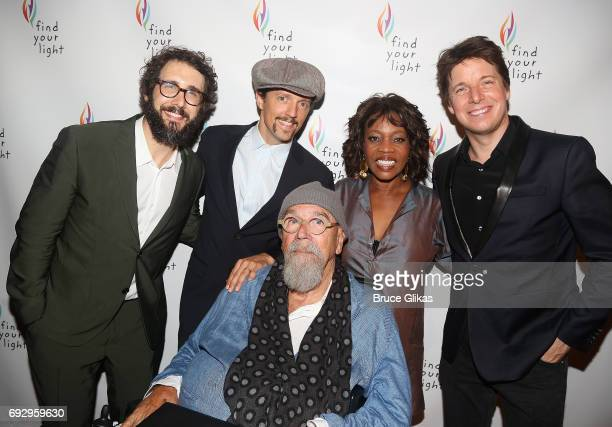Josh Groban Jason Mraz Chuck Close Alfre Woodard and Joshua Bell pose at the 2017 Find Your Light Gala at City Winery on June 5 2017 in New York City
