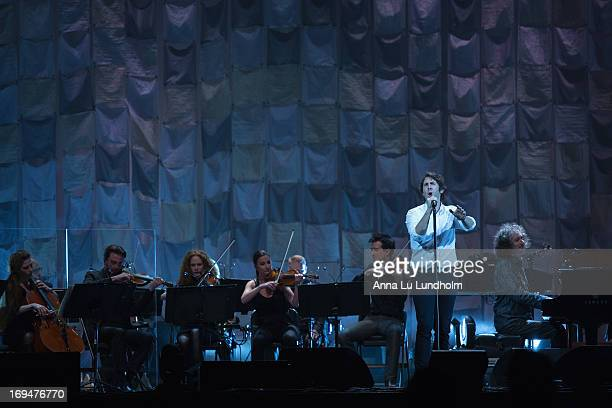 """Josh Groban performs during the """"All That Echoes"""" tour at the Ericsson Globe on May 25, 2013 in Stockholm, Sweden."""