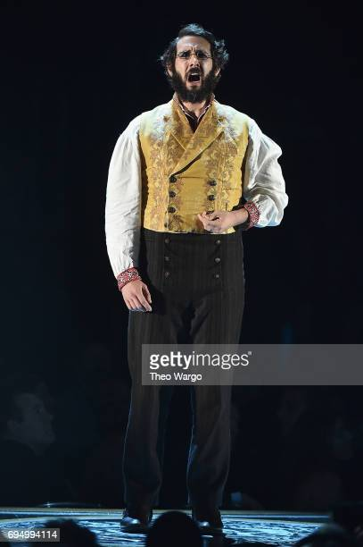 Josh Groban performs onstage with the cast of 'Natasha Pierre and The Great Comet of 1812' onstage during the 2017 Tony Awards at Radio City Music...