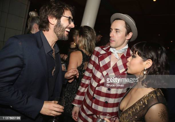 Josh Groban Reeve Carney and Eva Noblezada chat at the opening night after party for the new musical Hadestown on Broadway at Guastavino's on April...
