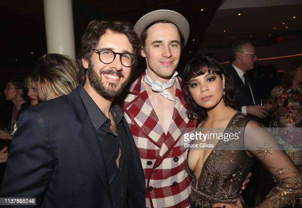 Josh Groban Reeve Carney and Eva Noblezada pose at the opening night after party for the new musical Hadestown on Broadway at Guastavino's on April...