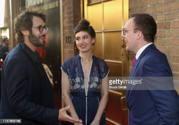 Josh Groban Schuylerl Helford and Chasten Glezman chat at the opening night of the new musical Hadestown on Broadway at The Walter Kerr Theatre on...