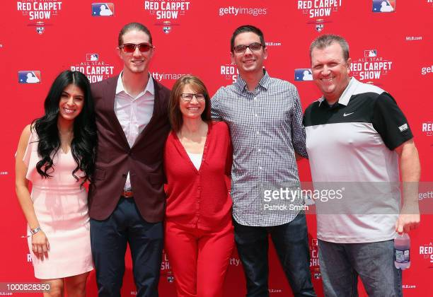 Josh Hader of the Milwaukee Brewers and the National League and guests attend the 89th MLB AllStar Game presented by MasterCard red carpet at...