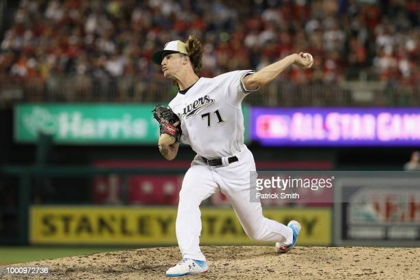 Josh Hader of the Milwaukee Brewers and the National League pitches in the eighth inning against the American League during the 89th MLB AllStar Game...