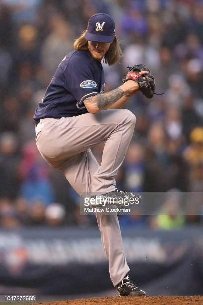 Josh Hader of the Milwaukee Brewers pitches in the ninth inning of Game Three of the National League Division Series against the Colorado Rockies at...