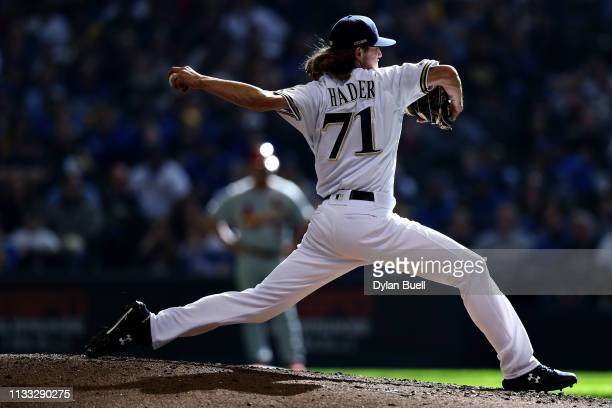 Josh Hader of the Milwaukee Brewers pitches in the ninth inning against the St. Louis Cardinals during Opening Day at Miller Park on March 28, 2019...