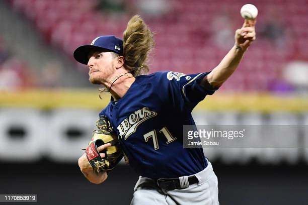 Josh Hader of the Milwaukee Brewers pitches in the ninth inning against the Cincinnati Reds at Great American Ball Park on September 24, 2019 in...