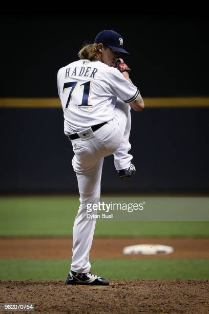 Josh Hader of the Milwaukee Brewers pitches in the seventh inning against the Arizona Diamondbacks at Miller Park on May 22 2018 in Milwaukee...