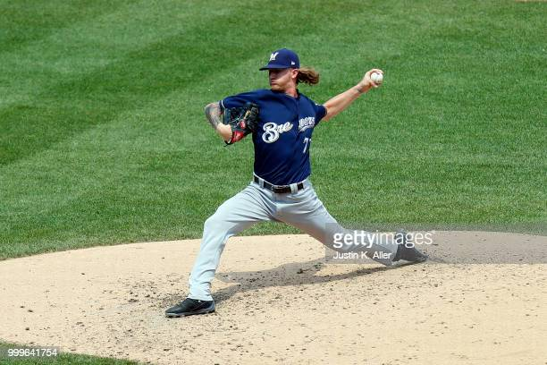 Josh Hader of the Milwaukee Brewers pitches in the sixth inning against the Pittsburgh Pirates at PNC Park on July 15 2018 in Pittsburgh Pennsylvania