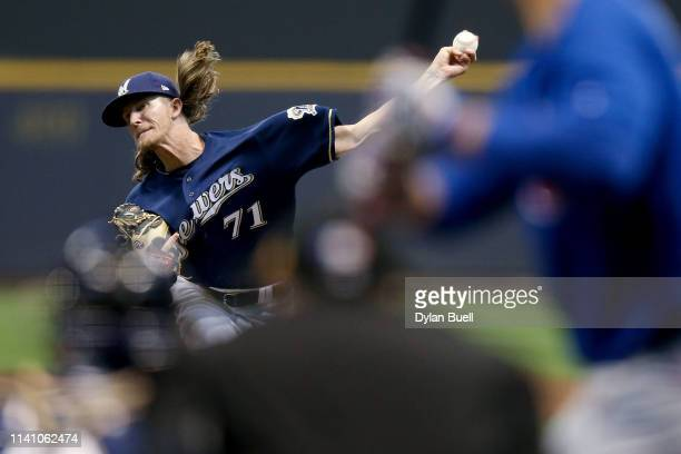 Josh Hader of the Milwaukee Brewers pitches to Anthony Rizzo of the Chicago Cubs in the seventh inning at Miller Park on April 07, 2019 in Milwaukee,...