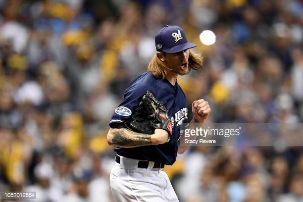 Josh Hader of the Milwaukee Brewers reacts after closing out the sixth inning against the Los Angeles Dodgers in Game One of the National League...